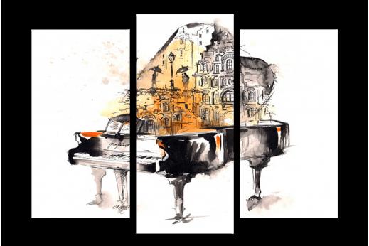 Модульная картина Рояль звуки города